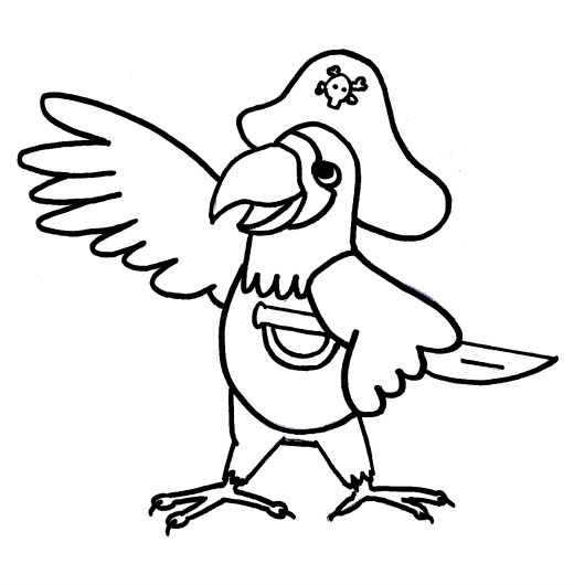 Pirate Parrot Colouring Pirate Parrot Coloring Pages