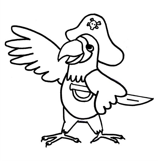 coloring pages pirate parrot - photo#4